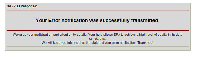 Notification of Successful Error Report to EPA's Integrated Error Correction Process