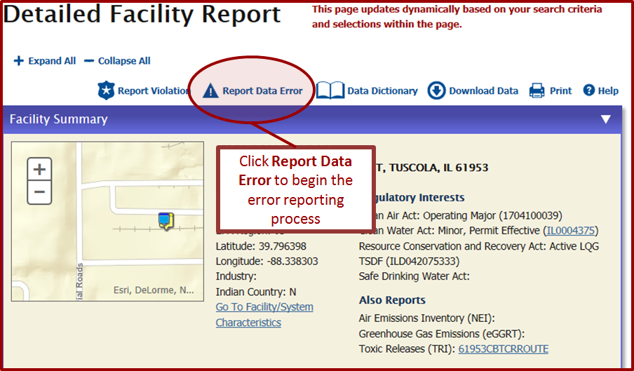 Step 1: Initiate error reporting from the Detailed Facility Report (DFR)