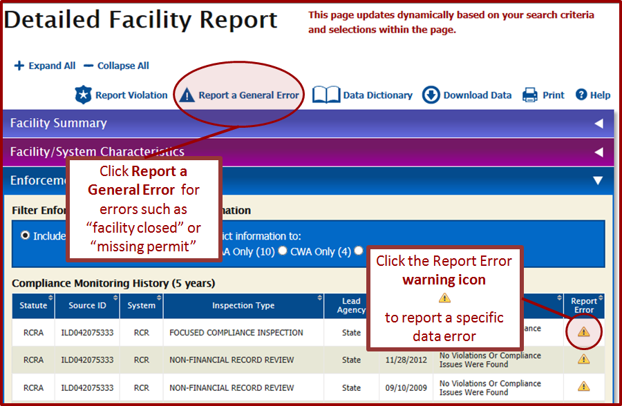 Step 2: Report a general or specific error with DFR